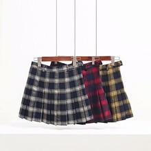 Autumn Winter Harajuku Women Fashion Skirts Cute Yellow Black Red Lattice  Pleated Skirt Punk Style High 3a458f45be88