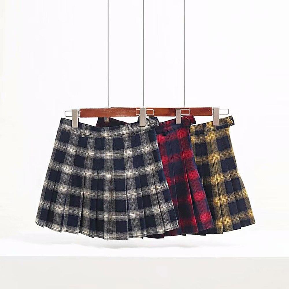 5430c0dbc Otoño Invierno Harajuku mujeres faldas de moda Linda amarillo negro rojo  enrejado plisado falda estilo Punk alta cintura femenina Falda corta