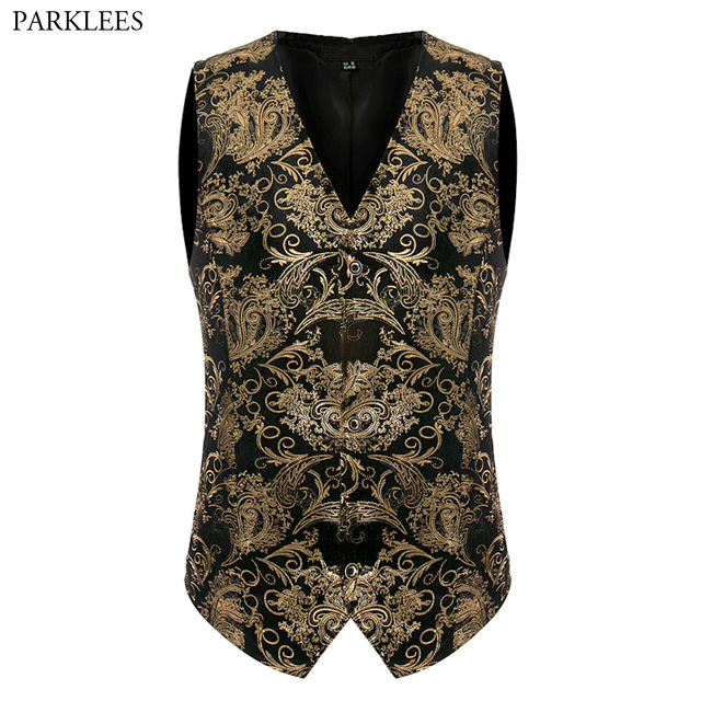 Luxury Gold Printed Steampunk Vest Men 2017 Brand New Night Club Prom Suit Vest Men Waistcoat Wedding Formal Dress Vests for Men