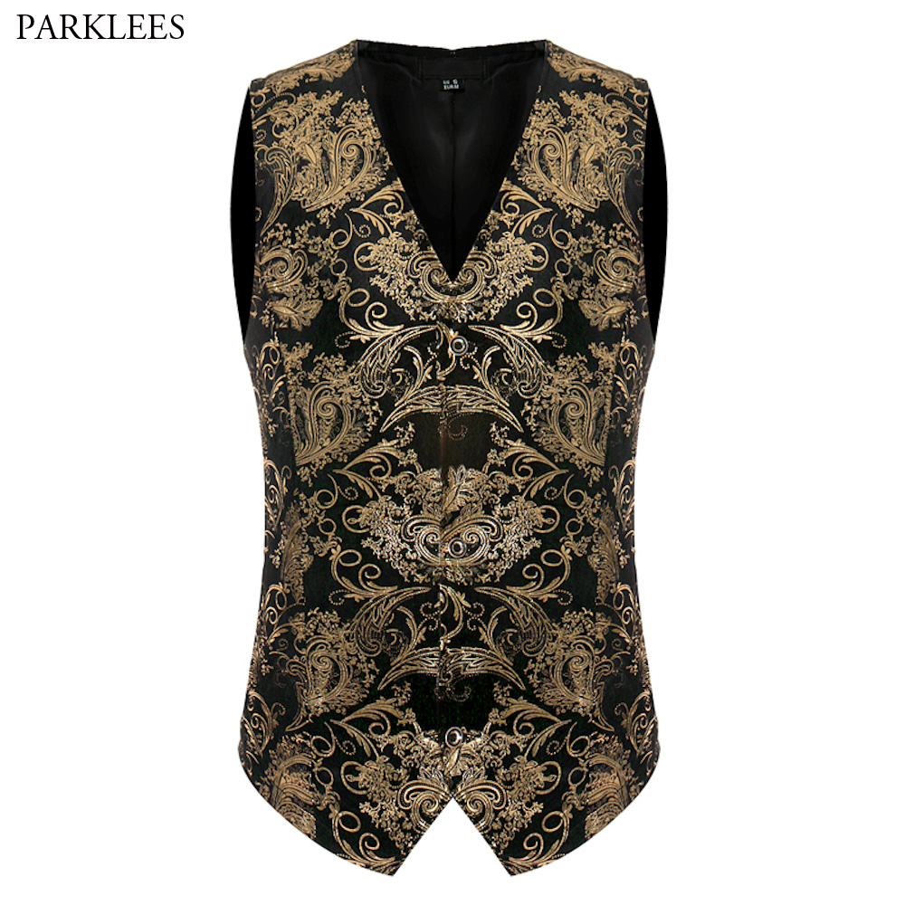 Luxury Gold Printed Vest Men 2017 Brand New Night Club Mens Suit Vest Casual Slim Fit Men Waistcoat Wedding Formal Dress Vests ...