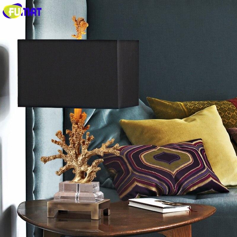 FUMAT Crystal Base Coralline Frame Table Lamps Luxury Gold Desk Light LED E27 5