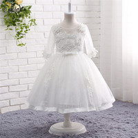 Half Sleeve Flower Girl Dresses Appliques Lace Tulle Pageant Dress Ball Gown First Communion Dresses