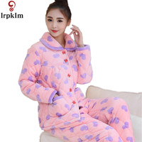 Winter Brand Homewear Women Casual Pajama Sets Ladies Thicken Warm Flannel Sleepwear Suit Female Cotton