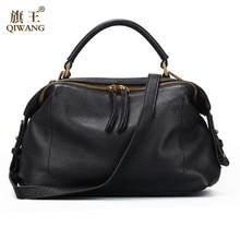 купить Qiwang 2017 Casual Tote Women Shoulder Bags 100% Genuine Leather Women Bags Designer Brand Female Handbags Hobo Crossbody Bags по цене 9279.89 рублей