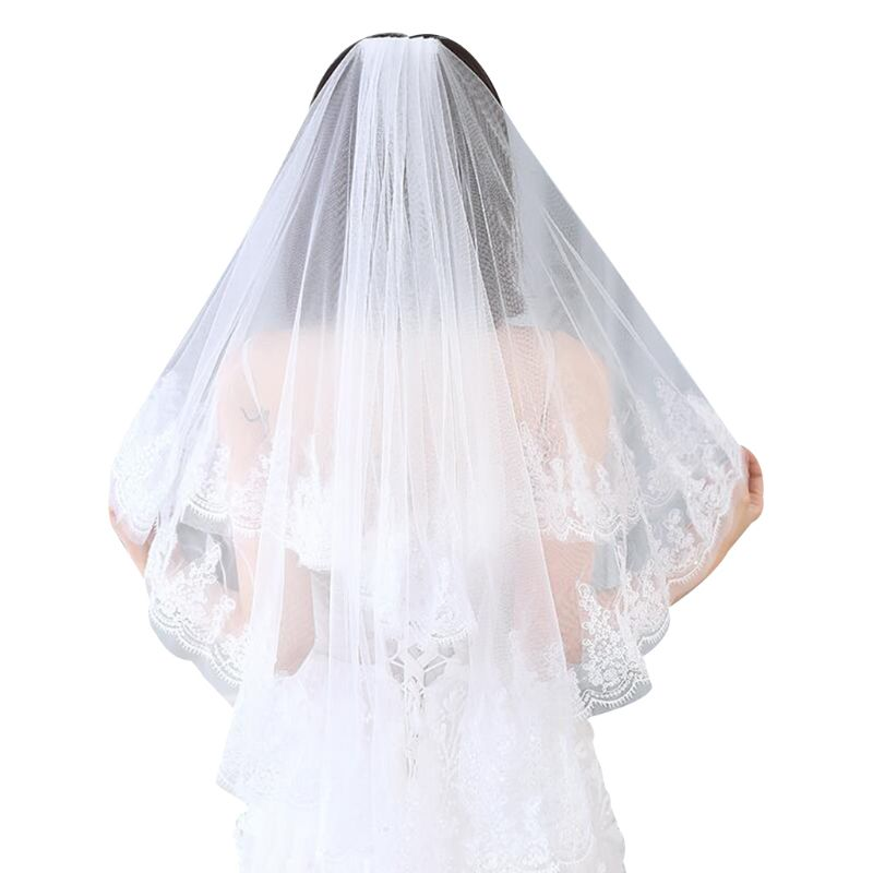 2 Tier Double Layer Women Wedding Veil Glitter Sequins Embellished Eyelash Scalloped Lace Trim Comb Bridal Veil Party Costume