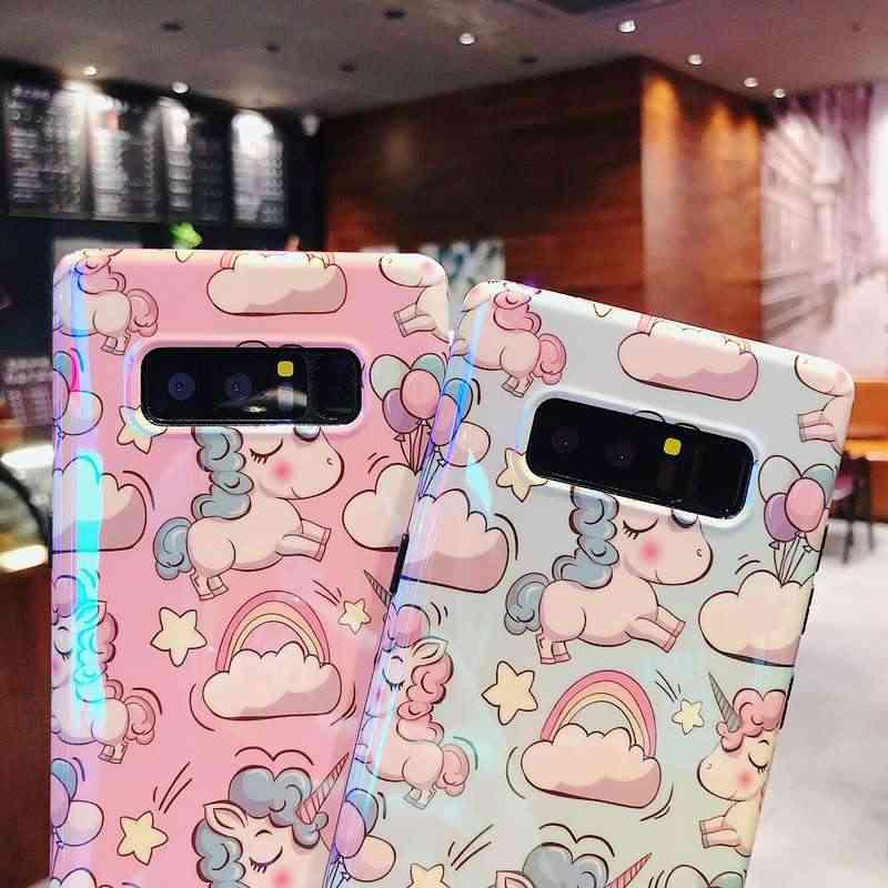 De dibujos animados unicornio funda para Samsung Galaxy S9 S8 más S9 + Nota 9 Nota 8 de lujo Aurora azul Ray piel IMD protección de TPU cubierta