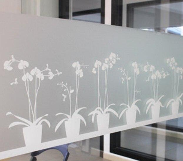 Non-adhésif Fenêtre Film de Longue durée Rapides BRICOLAGE 45x200 cm Enlever Facilement Gravé Papillon Orchidée Décoration pour Rejet UV