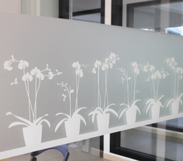 Non-adhesive Window Film Long-lasting Quick DIY 45 x 200 cm Easily Remove Etched Butterfly Orchid Decoration for UV Rejection