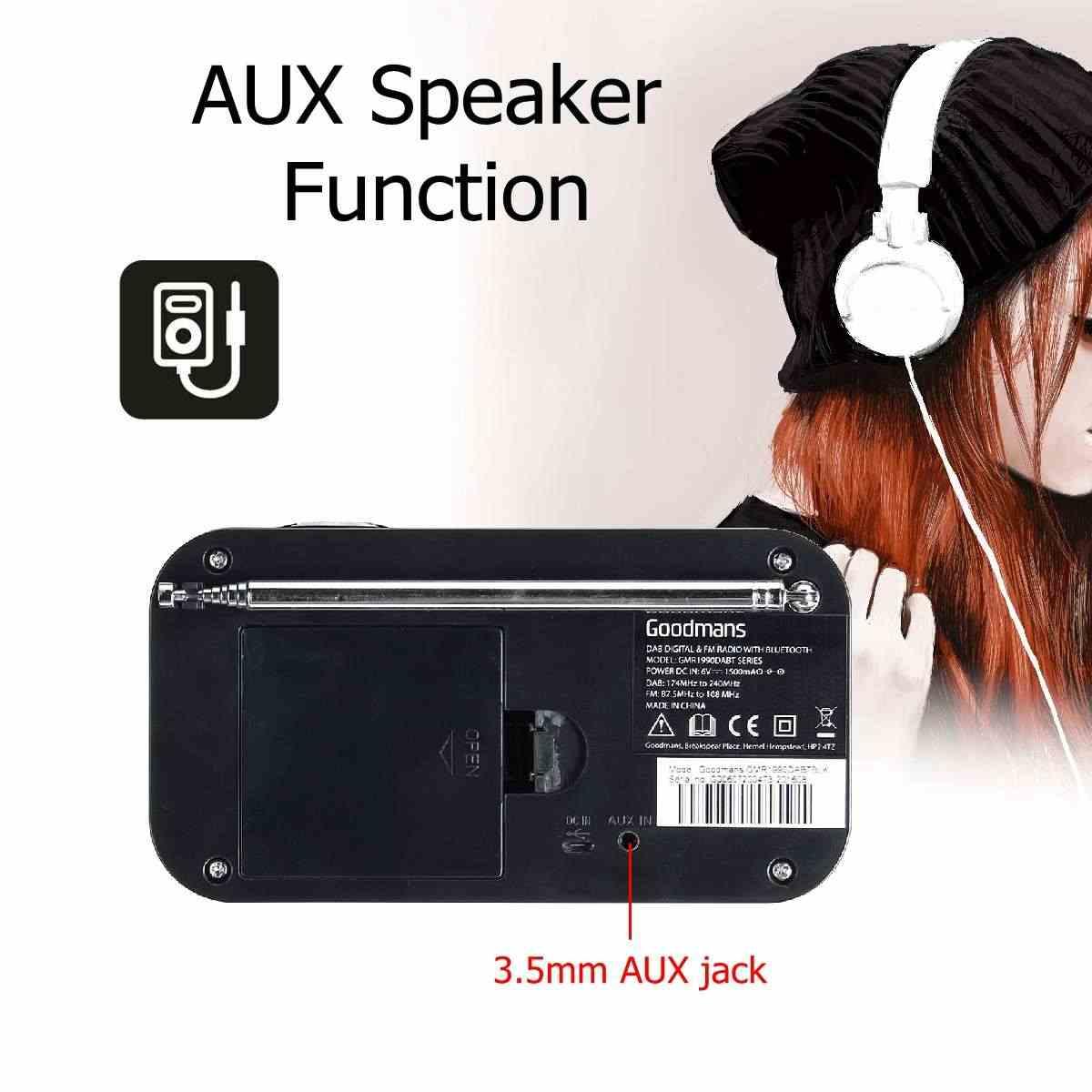 LEORY DAB Digitale FM Radio bluetooth Speaker 3.5mm AUX Jack Lcd-scherm Speaker in Zwart of Wit Kleur