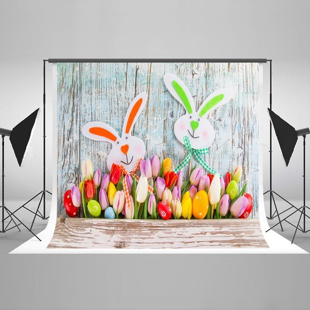 Happy Easter Colorful Eggs Bouquet Spring Faux Natural Rustic Wood Backdrops Vinyl Cloth Computer Print Wall