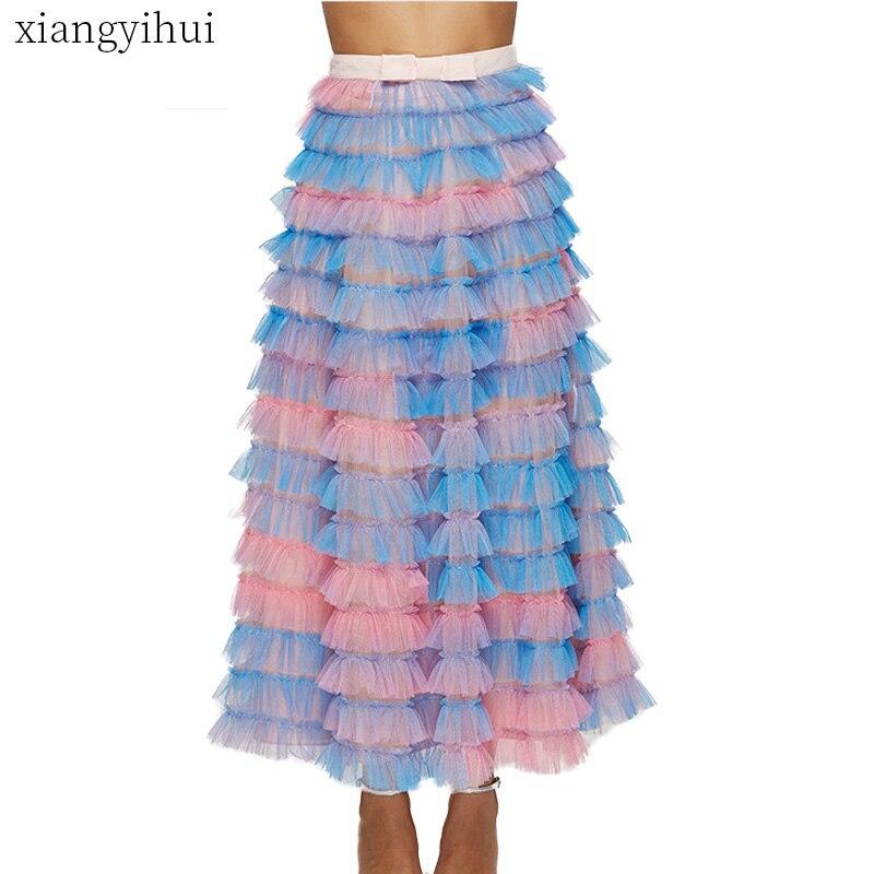 Haute rue mode coréenne gâteau jupe femmes d'été coloré Bowknot élégant Tulle jupe femme longue Maxi jupes robe de bal 2019
