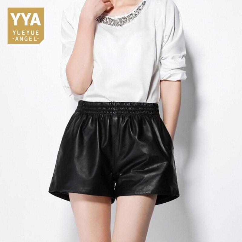 Européen Sexy femmes en peau de mouton véritable cuir Mini Shorts taille élastique large jambe courte pantalon femme noir Punk fête Shorts