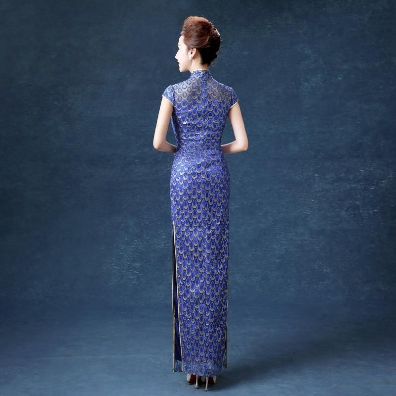 wanita biru panjang penuh anggun cheongsam elegan shanghai gaun - Pakaian kebangsaan - Foto 2