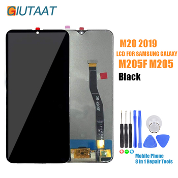 Original 6.3 Inch LCD Display Touch Screen Digitizer Front Panel Glass Assembly Replacement for Samsung Galaxy M20 SM-M205 M205F