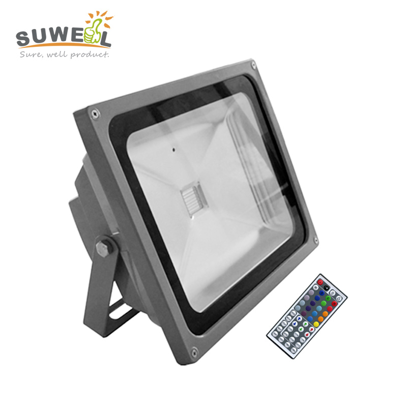 ФОТО diy effect high voltage 110v 220v ir remote control waterproof ip65 cob chip 60w rgb led flood light outdoor wall washer lights