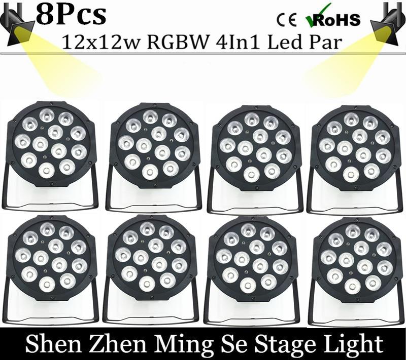 8units 12w led  lamp beads 12x12W led Par lights RGBW 4in1 flat par led dmx512 disco lights professional stage dj equipment