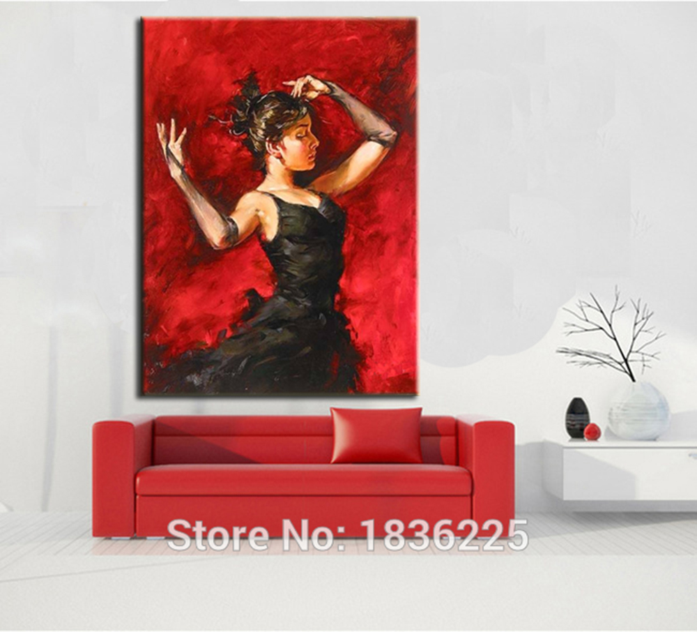 Spanish Flamenco Dancer Painting Black Dress Latina Woman Oil painting on Canvas HQ Hand Painted Red Background Painting - 2