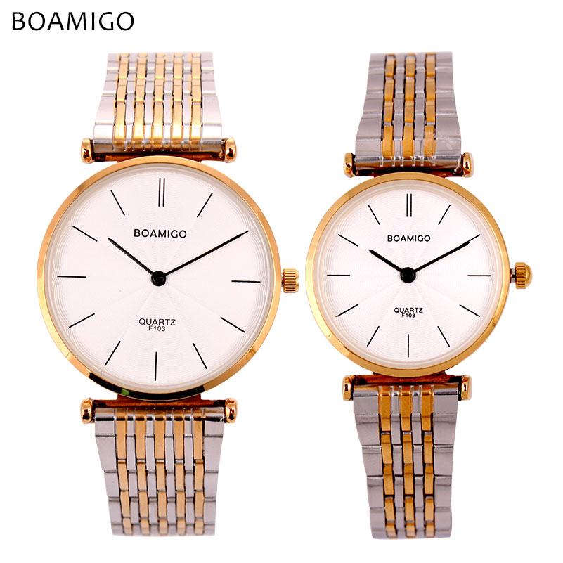 Prix pour Boamigo amoureux montres hommes femmes robe montres à quartz en acier bande or argent simple d'affaires horloge heures montre relogio feminino
