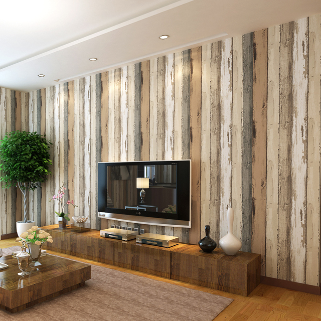 wood grain wallpaper modern wallcovering background for home decoration retro wall paper free shipping - Wood Grain Wall Paper