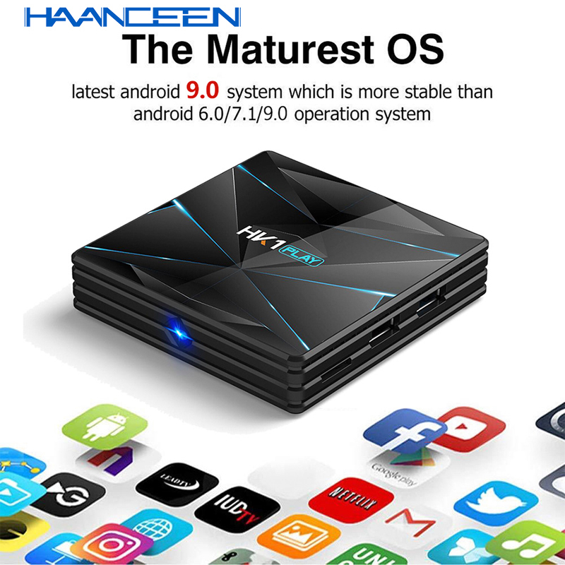 Android 9.0 TV BOX HK1 Play S905X2 DDR 3 4GB/32GB Dual Band Wifi Smart Media Player Support Bluetooth 4K 3D Set Top Box Mini Pc