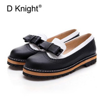 Ladies Casual Flat Oxford Shoes Sweet Bow Color Block Women Oxfords Fashion Carved Bullock Oxfords Shoes Woman Slip on Loafers