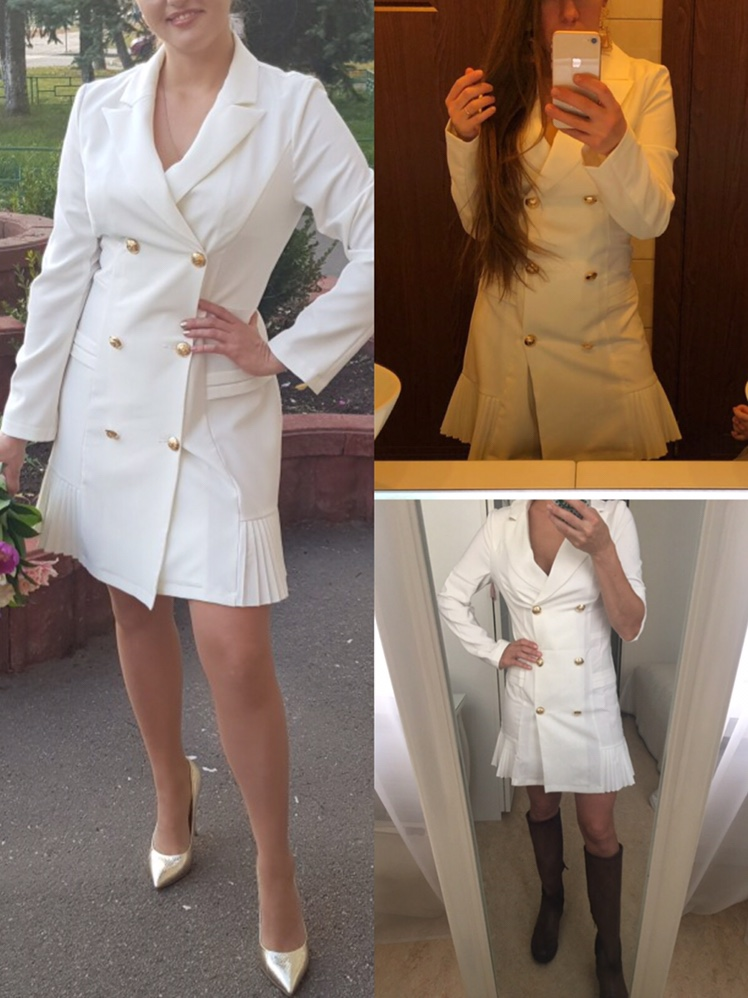 Simplee Elegant ruffle double breasted women dress Office casual blazer white dress 2018 Autumn winter slim suit ladies dresses