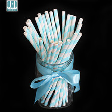 drop shipping Party Supplies 25pcs Skyblue Stripe Design Paper Drinking Straws Tubes Wedding Birthday Decoration