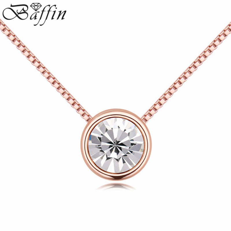 BAFFIN Simple Fashion Mini Round Pendant Necklaces For Women Crystals From SWAROVSKI Rose Gold Color Chain Collares Jewelry
