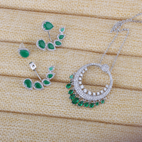 Very Girl Milky Green Stone Wedding Jewelry Sets Cuff Earrings For Women Unique Bohemia Silver Plated