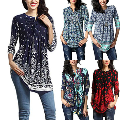 c62a26d205cf Ladies Print Daily T Shirt Top Clothing Summer Womens Casual Tops Long  Sleeve Crew Neck Floral T-Shirt