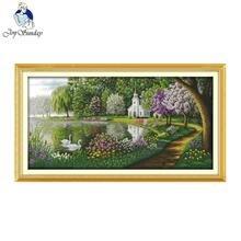 기쁨 일요일 녹색 호수 반영 된 색상 패턴 14ct11ct 인쇄 된 크로스 스티치 세트 크로스 스티치 키트 자 수 바느질 작업