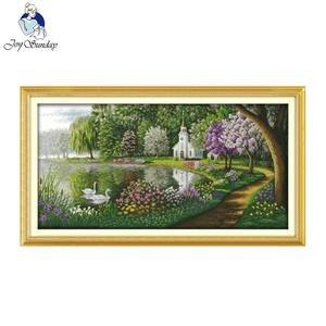 Image 1 - Joy sunday motifs de couleurs reflétés dans le lac vert, 14CT11CT, ensemble de point de croix compté, kit de point de croix, broderie couture
