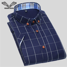 VISADA JAUNA Men Shirt 2017 Summer New Arrival Male Solid Mandarin Collar Business Iron-free Short Sleeve Cotton Shirts 5XL N202