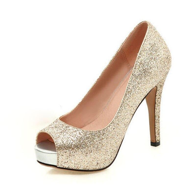 ФОТО New Open Toe Platform High Heels Women Shoes Luxury Glitter Pumps For Women Elegant Ladies Evening Party Shoes Big Size 34-43