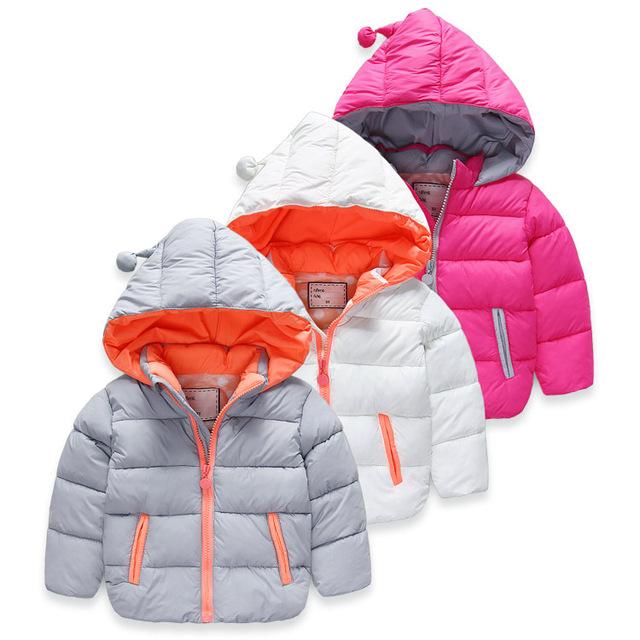 2016 Nueva muchacha del muchacho abrigo chica caliente del invierno de algodón abrigo de manga larga chaqueta de abrigo de invierno chaqueta con capucha para niños Navidad H00135