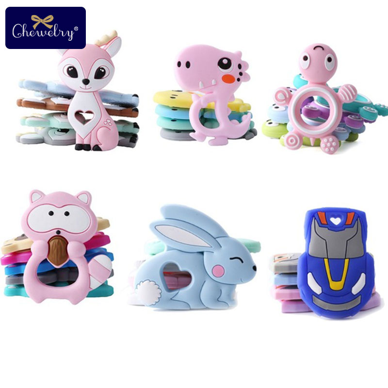 Chewelry 7-9 Months Bpa Free Baby Silicone Teether Food Grade Silicone Teething Pendant Baby Teether Rabbit Silicone Tiny Rod