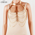 CHRAN Statement Multilayer Metal Chain Waist Necklace Wholesale Gold Plated Women Neck Accessories Charming Sexy Body Chain