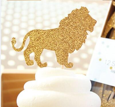 Glitter Lion Jungle Safari Animals Cupcake Toppers