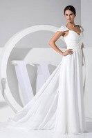2018 Strapless A Line Sleeveless Bodycon Backless Chiffon Bridesmaid Dress Elegant White Floor Length Summer Wedding Party Dress