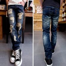 Рваных джинсах мужчин разорвал и проблемных 2016 новинка мужские прямо Fit бесплатная доставка