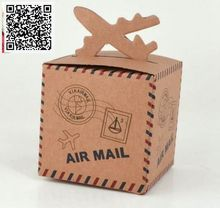 New 50pcs Kraft Paper Airplane Candy Box Wedding Travel Theme Decoration Baby Shower Souvenirs Party Favors Gift