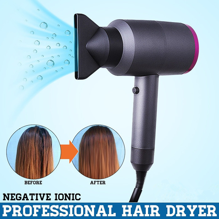 Fashion 3 Nozzles Ionic Hair Dryer Domestic Thermostatic and Hot Air Blower High End Negative Ion