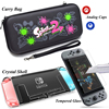 Nintend Switch Accessories Carry Bag + Tempered Glass Film + PC Shell Case+ Joy-con Analog Caps for Nitendo Switch Game Console