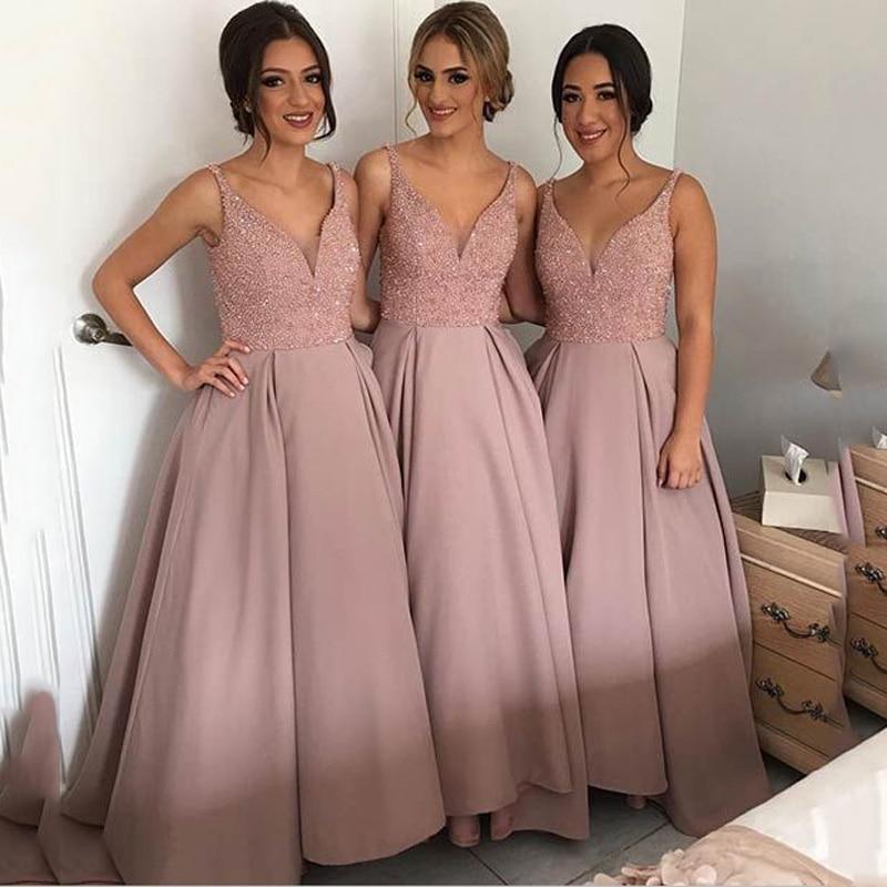 New Arrival   Bridesmaid     Dresses   2019 V-neck Sleeveless Floor Length Beaded A-Line Chiffon Wedding Party   Dress   vestido de madrinha
