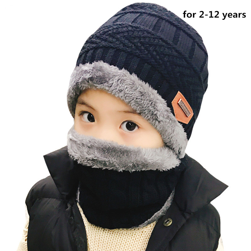 Autumn Winter Warm Children's Hats Scarves Set Thick Plus Velvet Men Women Kids Wool Cap Collar 2pcs Set Boy Girl New Hat Scarf