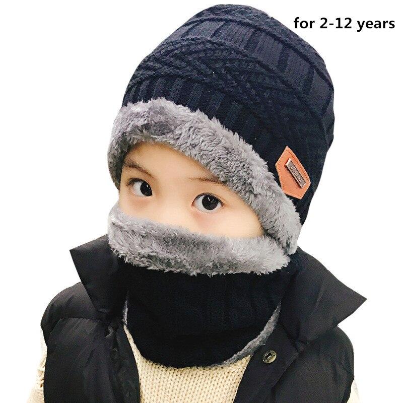 Autumn Winter Warm Childrens Hats Scarves Set Thick Plus Velvet Men Women Kids Wool Cap Collar 2pcs Set Boy Girl New Hat Scarf