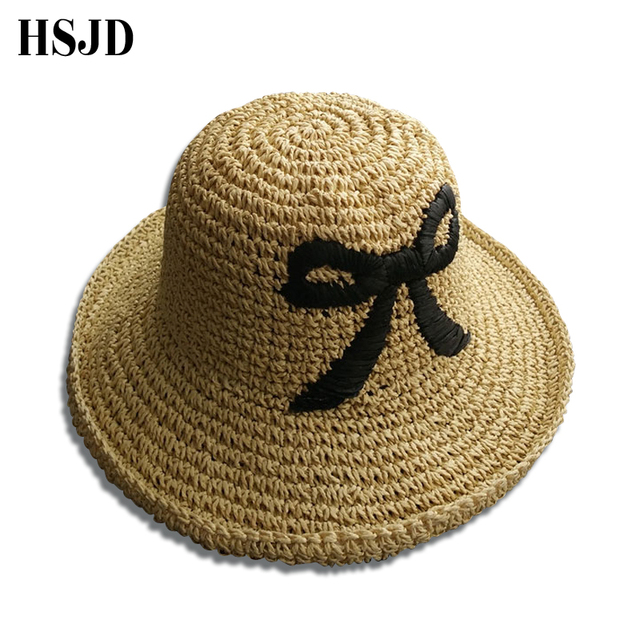 820b2d758442b Cute Black Bowknot Sun Cap Raffia Handmade crochet Straw sun summer hats  for women girls chapeau femme Beach Hat Gift 2018 Brand