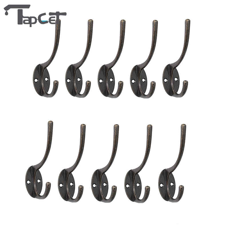 TAPCET 10PCS Cloth Hook Hangers Vintage Iron Wall Hook Rustic Key Coat Bag Hat Hanger Rustic Robe Hooks For Home Bathroom creative home kits white cloud style magnet magnetic key hooks hangers holder