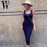 WYHHCJ 2018 Vestidos Plicated Women Summer Dress Sleeveless Square Strap Solid Dress Women Backless Bodycon Dresses