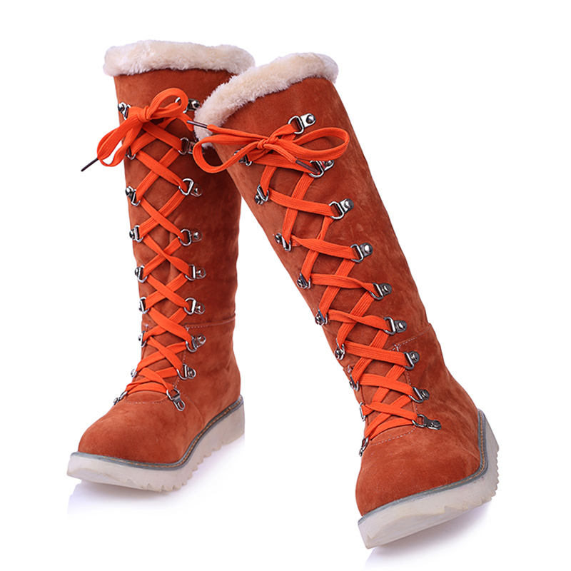 KARINLUNA 2018 Large Size 34-43 Beige Women Shoes Woman snow boots Casual comfortable Warm Plush Winter Knee High Boots shoes 2017 female warm snow boots large size 41 cotton winter shoe for woman soft comfortable outdoor footwear high quality